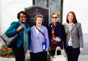 L to R: Corrinne Anderson (AAUW MS president), Bets Brown (AAUW ME public policy chair), McGuire, Christine Siebeneck (AAUW Ohio president)