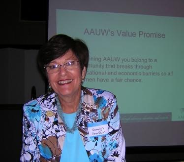 Carolyn Garfein speaking on AAUW Value Promise