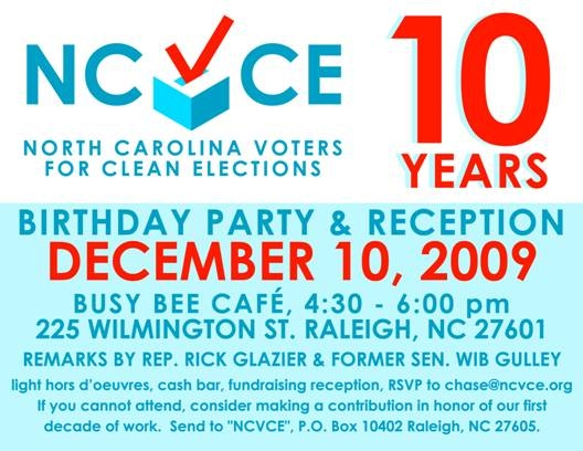 Invitation to NCVCE anniversary celebration