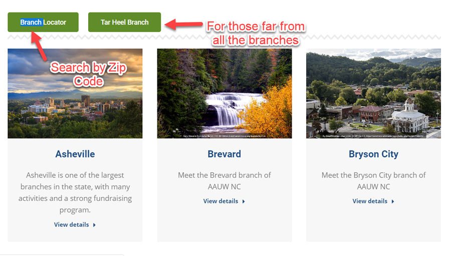 Screen capture of branches page.